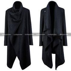 Men Unique Punk Gothic Designer Awesome Shawl Cardigans Jacket Poncho Cape Cloak
