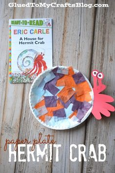 Paper Plate Hermit Crab Kid Craft - this crafty idea goes along perfectly with the book A House for Hermit Crab by Eric Carle Crab Craft Preschool, Daycare Crafts, Toddler Crafts, Crafts For Kids, Classroom Crafts, Preschool Christmas, Classroom Themes, Christmas Crafts, Paper Plate Crafts