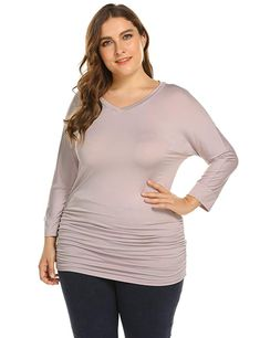 59d353fe637 Zeagoo Women's Plus Size Cotton V-Neck Tunics Shirts Casual 3/4 Sleeve Tops