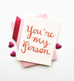 Youre My Person card simple chic love romantic anniversary I love you birthday best friend sister calligraphy typography handwriting on Etsy, $4.00
