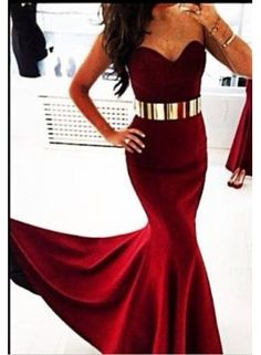 2014 Red Prom Dresses Gold Metal Belt Sweetheart Mermaid Sleeveless Chiffon Sexy Evening Gowns With Train