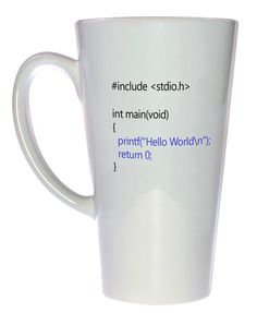 Hello World C Program Coffee or Tea Mug, Latte Size