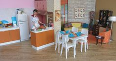 1960's Barbie kitchen and living room diorama based on Barbie's 1963 Dream Home
