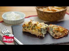 Ingredientes: • 1 pechuga de pollo grande. • 50 gr. espinacas frescas. • 1 diente de ajo pequeño. • 2 cdas. queso crema. • Sal y pimienta. • Queso rallado pa...