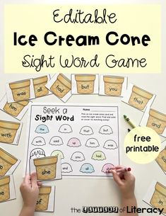 Editable Ice Cream Cone Sight Word Game, free printable for literacy center