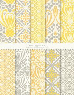 "Antique Pattern Digital Scrapbook Paper Pack (8.5x11""-300 dpi) -- 10 Digital papers -- 453. $3.00, via Etsy."
