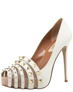 Rockmance Leather Pump by Valentino at Bergdorf Goodman.