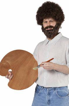 Caucasian Fro Wig & Beard Set: Bob Ross Costumes... the description is the best!