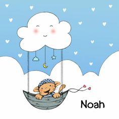 Geboorte leeuw met wolk, geboorte aankondiging jongen - IH, verkrijgbaar bij #kaartje2go voor € 1,79