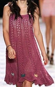 Pretty Purple Dress free crochet graph pattern..... great idea for a knit top with cables and st