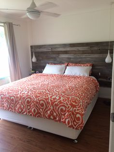 DIY Homemade recycled timber bedhead with floating bedsides & bedside pendant lamps.