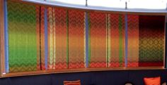 """Multi Colored Four Hand Woven Panels by debbiebarrettjones on Etsy, $2575.00  """" There are four panels to the piece using green, red, orange, yellow, and chocolate brown. Woven on a sixteen harness computer dobby loom using a twill weave pattern."""