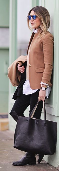 Black And Camel Outfit by Stephanie STERJOVSKI