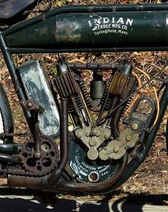 Cool picture of an old Indian Motorcycle engine                              …