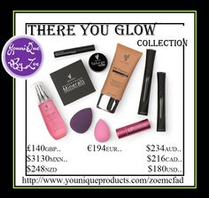 There You Glow This collection includes: 1 BB Flawless Complexion Enhancer 1 Lip Bonbons Tinted Lip Balm 1 Moodstruck Minerals Pressed Blusher 1 Moodstruck Precision Brow Gel 1 Splurge Cream Shadow 1 Set of Blending Buds 1 Moodstruck 3D Fiber Lashes+ 1 Refreshed Rose Water 1 Younique makeup bag