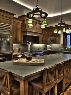 Modern meets Mission in Bruce Willis Idaho Home: Kitchen Celebrity Kitchens, Celebrity Houses, Luxury Kitchens, Home Kitchens, Luxury Bathrooms, Bruce Willis, Idaho Homes For Sale, Kitchen Dining, Kitchen Decor