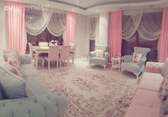 Soft atmosphere with baby blue and powder pink. We are the guests of Sevgin lady& sweet salon. Pastel Living Room, Blue Living Room Decor, Home Living Room, Home Bedroom, Bedroom Decor, Distressed Wood Furniture, Drawing Room Furniture, Pastel Home Decor, Baby Room Design
