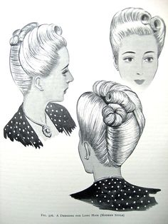 "Vintage Pin Up Hairstyles From ""The Art and Craft of Hairdressing"",  Edited version c.1958, originally published in 1931."