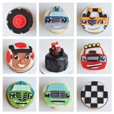 blaze and the monster machine cupcakes with custom fondant toppers