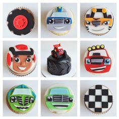 and the monster machine cupcakes with custom fondant toppers Torta Blaze, Bolo Blaze, Blaze Cakes, Festa Monster Truck, Monster Truck Cupcakes, Monster Truck Birthday, Thomas Birthday Parties, Harry Birthday, Leo Birthday
