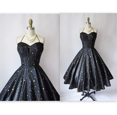 Polkadot Halter Black Gold Strapless Organza Cocktail Party Mad Men Circle Sun Dress S M New Look Dresses, 50s Dresses, Pretty Dresses, Vintage Dresses, Vintage Outfits, 50s Vintage, Beautiful Gowns, Beautiful Outfits, 1950s Fashion