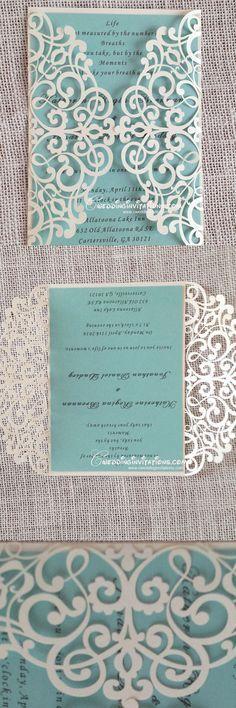 tiffany blue laser cut wedding invitations, laser cut wedding invitations…