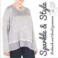 ✨Coming soon✨Hi-lo top Plus size, gray mesh hem top. •Stretch fabric with scalloped lace trim.    Rayon/polyester/spandex/cotton blend •Lightweight, knit hi-lo hem. •Machine wash. Tops