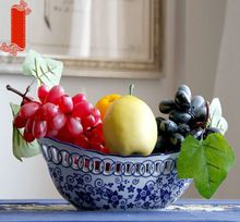 Elipse azul y blanco de la porcelana ahueca hacia fuera el plato de fruta merienda plato de cerámica multifuncional / artículos de equipamiento de cerámica(China (Mainland))