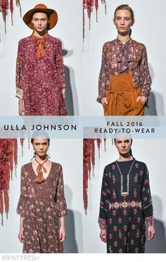Fall 2016 Ready-to-wear Runway Print & Pattern Trends- Ulla Johnson Images: vogue.com  Loving these boho dresses for fall!