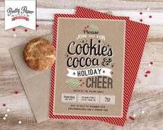 Christmas Party Invitation // Holiday Cookie Exchange // Hot Cocoa Party // Christmas Cookie Swap // Printable, Digital File