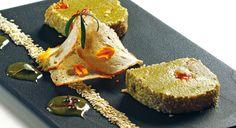 """""""Terrina di zucchine e albicocche con succo di menta"""" dello chef Vincenzo Vottero Vintrella dell'Antica trattoria del Reno di Bologna  #lamadia #lamadiatravelfood #food"""