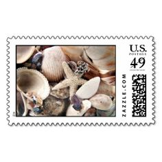 Sea Shells Postage Stamps. This is customizable to put a personal touch on your mail. Add your photos or text to design your own stamp that can be sent through standard U.S. Mail. Just click the image to try it out!