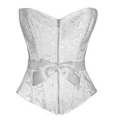 Bslingerie Womens Boned Corset Zipper Black Brocade Top (S, White) Bslingerie http://www.amazon.com/dp/B00IQV10HC/ref=cm_sw_r_pi_dp_lsCwub1EGD43E