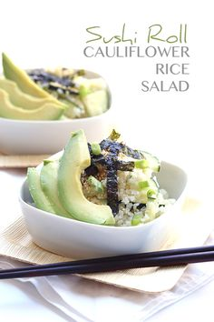 Sushi roll in a bowl! This low carb cauliflower rice salad has all the great flavors of your favorite sushi in a much healthier, lighter package. It's the perfect summer side dish. If you fol…