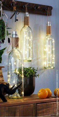 Creative Farmhouse: Wine Bottle DIY Rustic Lanterns for your home or patio decor. Home Decorating Ideas For Cheap ideas creative Home Decorating Ideas For Cheap Creative Farmhouse: Wine Bottle DIY Rustic Lanterns for your home or patio decor. Retro Home Decor, Easy Home Decor, Handmade Home Decor, Diy House Decor, Rustic House Decor, Diy Home Decor For Teens, Diy Rustic Decor, Winter Home Decor, Handmade Lamps