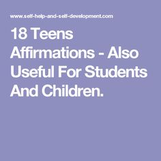 18 Teens Affirmations - Also Useful For Students And Children. Peace Studies, Self Development, Self Help, Affirmations, Students, Teen, Children, Mandalas, Young Children