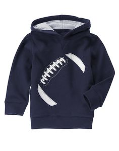 Blue Football Hoodie $29.95. hometown hero collection.   ------  baby boy. toddler boy. clothing. clothes. fashion. sports. fan. warm. fall and winter.