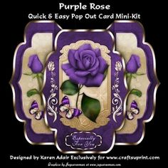 Purple Rose    Quick   Easy Pop out Card Mini kit on Craftsuprint - View Now!