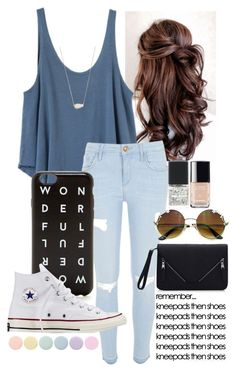 """""""my sisters vball game"""" by queen-hstyles ❤ liked on Polyvore featuring RVCA, River Island, J.Crew, Converse, Kendra Scott, SHADE Collection, Chanel, Deborah Lippmann and Vball4LIFE"""