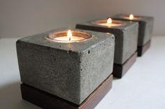 Square Concrete Tea Light Holders (Set of 3). $62.00, via Etsy.
