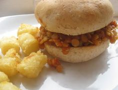 Red Lentil Sloppy Joes!  Yum..even my kids liked it.  Lentils are quick cooking and high in protein & fiber.