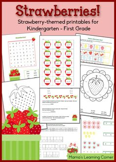 Download an 11-page packet of Strawberry Worksheets for your Kindergarten - First Grader!