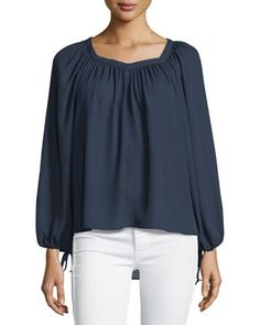 Long-Sleeve+Drawstring+Top,+Navy+by+5Twelve+at+Neiman+Marcus+Last+Call.