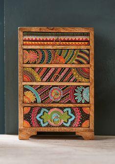 Funky Painted Furniture, Bohemian Furniture, Colorful Furniture, Upcycled Furniture, Diy Furniture, Eclectic Furniture, Painting Furniture, Plywood Furniture, Modern Furniture