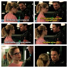 """""""That's a nasty cut. Maybe getting some Kevlar sleeves"""" - Oliver and Felicity Arrow Tv Shows, Arrow Tv Series, Dc Tv Shows, Cw Series, Supergirl Dc, Supergirl And Flash, Nightwing Young Justice, Arrow Comic, Arrow Oliver And Felicity"""