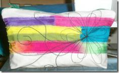 Zipped calico pouch - strips of procion dyed fabrics with machine embroidery - flower