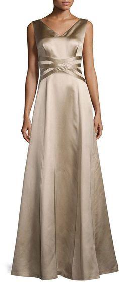 Kay Unger New York Sleeveless V-Neck Satin Gown, Mocha…