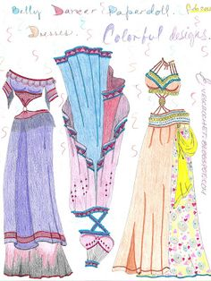 #Bellydancer #paperdoll, Colored belly dancer dresses by Eve Sanchez