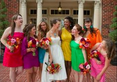Beth & Her Beautiful Bridesmaids in a Rainbow of Colors