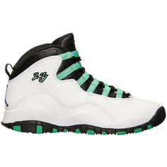 Air Jordan 10 Retro Girls White/Verde-Black-Infrared ❤ liked on Polyvore featuring shoes, jordans and sneakers